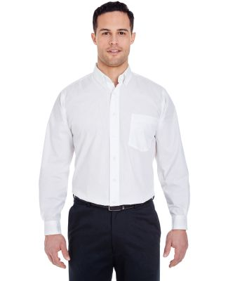 UltraClub 8355 Men's Easy-Care Broadcloth WHITE