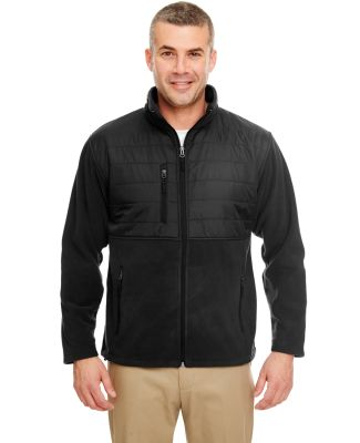 UltraClub 8492 Men's Fleece Jacket with Quilted Yo BLACK