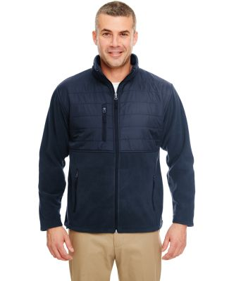 UltraClub 8492 Men's Fleece Jacket with Quilted Yo NAVY