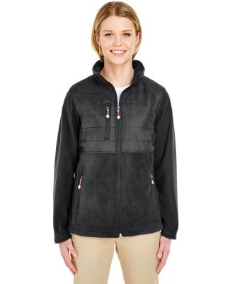 UltraClub 8493 Ladies' Fleece Jacket with Quilted  BLACK