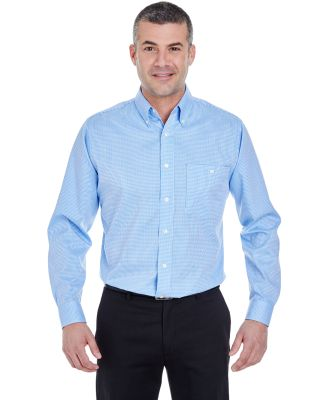 UltraClub 8995 Men's Yarn-Dyed Micro-Check Woven Light Blue