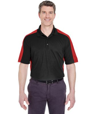 UltraClub 8447 Adult Cool & Dry Stain-Release Two- BLACK/ RED
