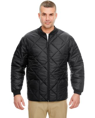 UltraClub 8467 Adult Puffy Workwear Jacket with Qu BLACK