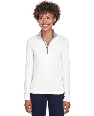 UltraClub 8230L Ladies' Cool & Dry Sport Quarter-Z WHITE