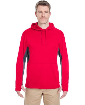 UltraClub 8231 Adult Cool & Dry Sport Hooded Pullo Red/ Charcoal