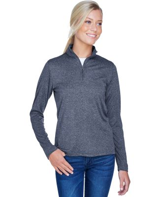 UltraClub 8618W Ladies' Cool & Dry Heathered Perfo NAVY HEATHER