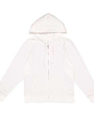 LAT 3763 Women's Zip French Terry Hoodie WHITE