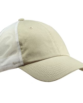 Big Accessories BA601 Washed Trucker Cap STONE/ WHITE