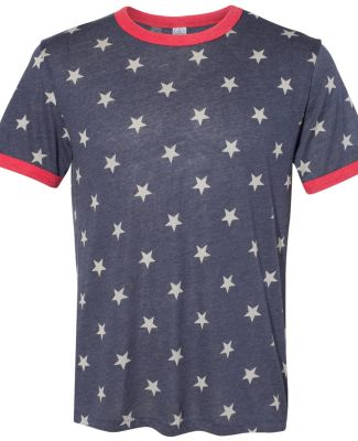 Alternative 5103BP Men's Keeper Ringer Tee STARS/ EC TR RED