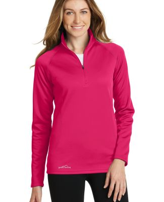 Eddie Bauer EB237  Ladies 1/2-Zip Base Layer Fleec Pink Lotus