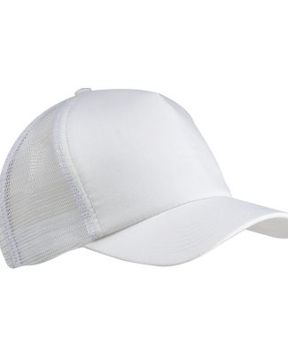 BX010 Big Accessories 5-Panel Twill Trucker Cap WHITE