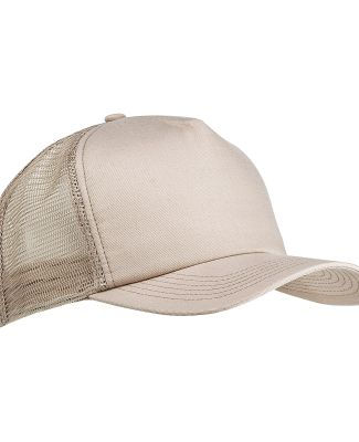 BX010 Big Accessories 5-Panel Twill Trucker Cap STONE