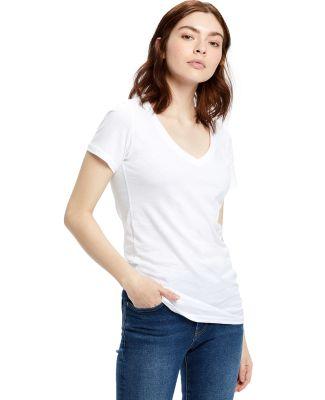 US Blanks US120 Ladies' 4.3 oz. Short-Sleeve V-Nec White