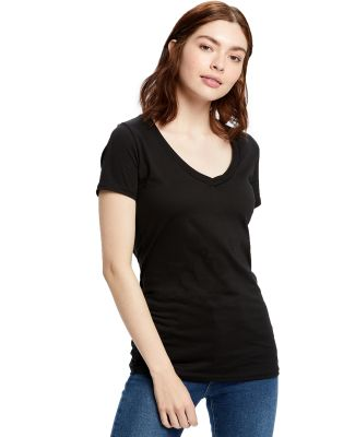 US Blanks US120 Ladies' 4.3 oz. Short-Sleeve V-Nec Black