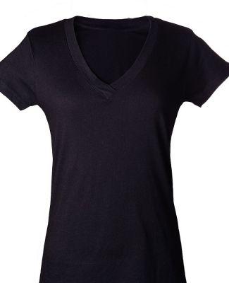 0214 Tultex Ladies' Slim Fit Fine Jersey V-Neck Te Black