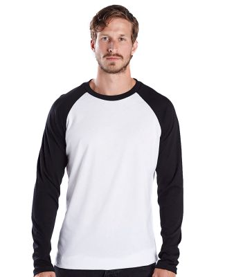 US Blanks US6600 Men's 4.3 oz. Long-Sleeve Triblen White/Black