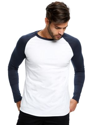 US Blanks US6600 Men's 4.3 oz. Long-Sleeve Triblen White/Navy
