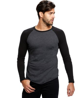 US Blanks US6600 Men's 4.3 oz. Long-Sleeve Triblen Charcoal/Black
