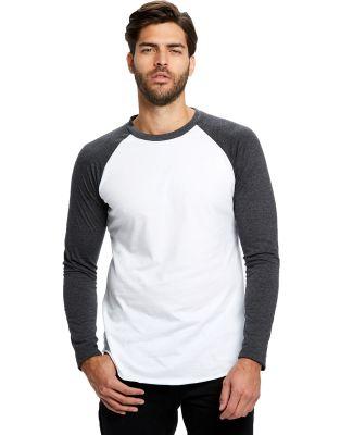 US Blanks US6600 Men's 4.3 oz. Long-Sleeve Triblen White/Charcoal