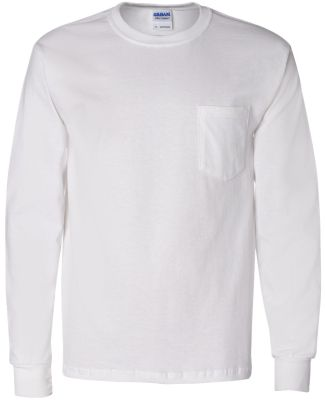 2410 Gildan 6.1 oz. Ultra Cotton® Long-Sleeve Poc WHITE