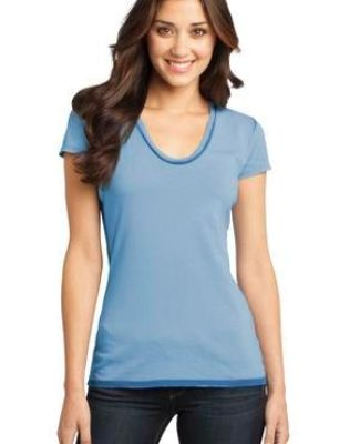 District DT2202 CLOSEOUT  - Juniors Faded Rounded Deep V-Neck Tee Catalog