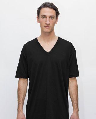 Los Angeles Apparel 24056 Fine Jersey V-Neck Tee Black