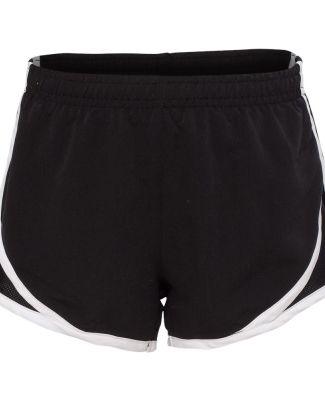Boxercraft P62Y Girls' Velocity Running Shorts Black/ White/ Black