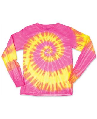 Dyenomite 24BWA Youth Wave Tie Dye Long Sleeve Fluorescent Wave