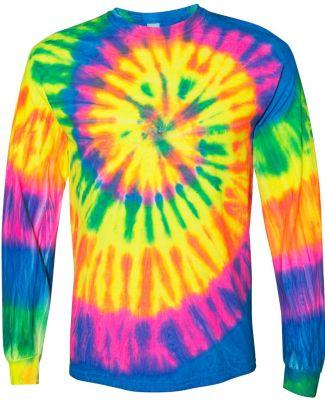 Dyenomite 240MS Spiral Tie Dye Long Sleeve Fluorescent Rainbow Spiral