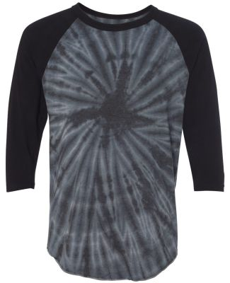 Dyenomite 660VR Tie-Dyed Three-Quarter Sleeve Ragl Black Cyclone