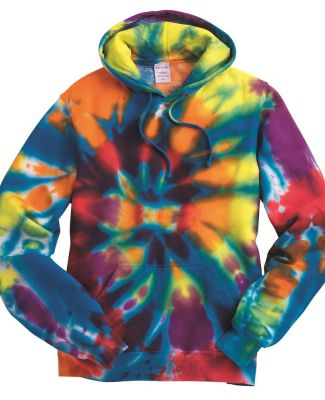 Dyenomite 854TD Rainbow Multi-Color Cut-Spiral Hooded Sweatshirt Catalog