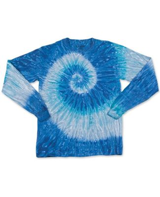 Dyenomite 24BRP Youth Ripple Tie Dye Long Sleeve Blue Ripple