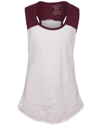 Blue 84 JBRTT Juniors' Burnout Raglan Tank Top White/ Maroon