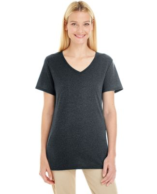 Jerzees 601WVR Women's Tri-Blend V-Neck Short Slee Black Heather