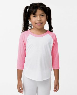 Los Angeles Apparel FF2053 / Youth 3/4 Sleeve Ragl Wh/Neon Htr Pnk