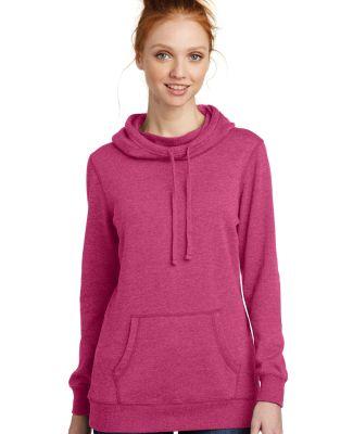 DM493 District Made Ladies Lightweight Fleece Hood Hthrd Pink Aza