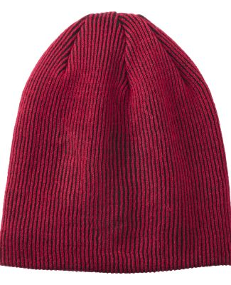 242 C935 Port Authority Rib Knit Slouch Beanie Deep Red/Black