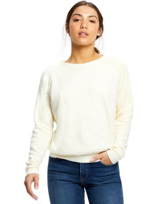 Ladies' Raglan Pullover Long Sleeve Crewneck Sweat Tri-Cream