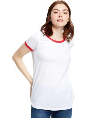 US Blanks US609 Women's Classic Ringer Tee White/Red