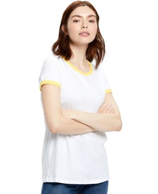 US Blanks US609 Women's Classic Ringer Tee White/Yellow