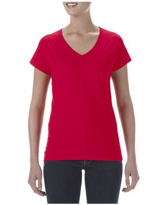 49 380VL Women's Lightweight Fitted V-Neck Tee Red
