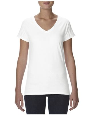 49 380VL Women's Lightweight Fitted V-Neck Tee White