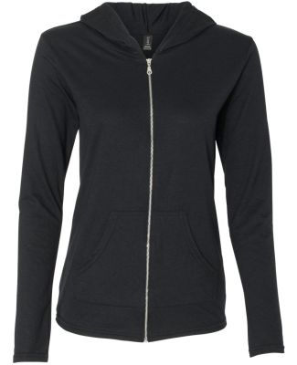 49 6759L Triblend Women's Hooded Full-Zip T-Shirt Black