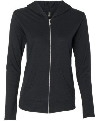 49 6759L Triblend Women's Hooded Full-Zip T-Shirt Black