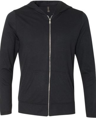 Anvil 6759 Triblend Hooded Full-Zip T-Shirt Heather Black