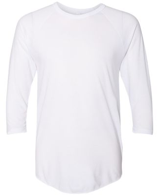 BB453W 50/50 Three-Quarter Sleeve Raglan T-shirt WHITE
