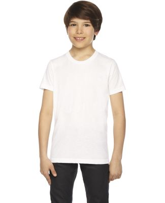 BB201W Youth Poly-Cotton Short-Sleeve Crewneck WHITE