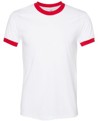 BB410W Unisex Poly-Cotton Short-Sleeve Ringer T-Sh WHITE/ RED