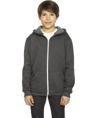 F297W Youth Flex Fleece Zip Hoodie DK HEATHER GREY