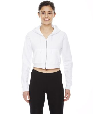 F397W Ladies' Cropped Flex Fleece Zip Hoodie WHITE